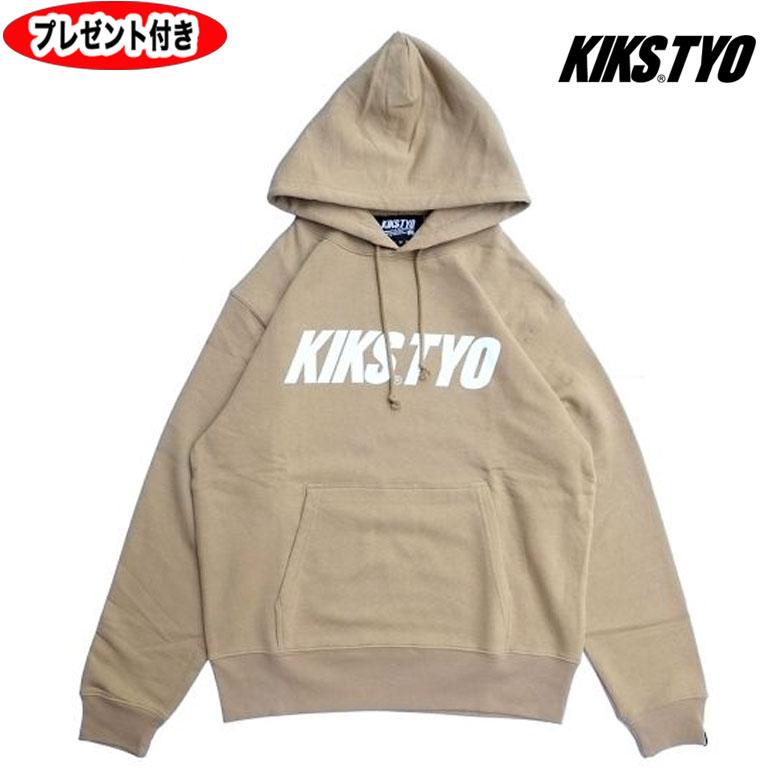 お買い得 キックスティーワイオー kikstyo KIKS TYO kiks tyo LOGO HOODIE SAND 高品質新品 サンド プルオーバーパーカー ロゴパーカー KT1808C-02 ベージュ ロゴフーディー