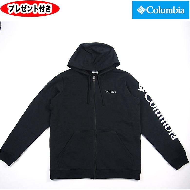 Columbia コロンビア COLUMBIA ジップスウェットパーカー パーカー ジップパーカー 胸ロゴ刺繍 袖ロゴプリント AE0246 メンズ フルジップトップ ブラック Jacket アウター 防寒 メンズ 男女兼用
