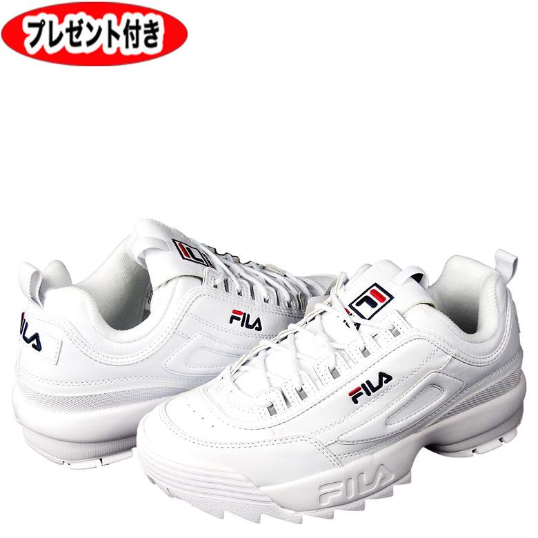 FILA フィラ スニーカー F0215 ディスラプター 2 白 WHITE ホワイト メンズ プレゼント付 シューズ ローカット ミドルカット 男性 靴 レディース