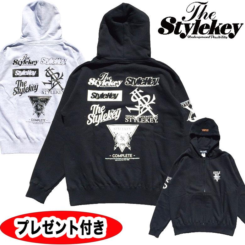 スタイルキー パーカー stylekey STYLEKEY MASTER LOGO TOUR ZIP HOOD SWEATSK17FW-SWJK02 スウェットパーカー プルオーバーパーカー BLACK ブラック メンズ トップス ストリート プルパーカー 送料無料