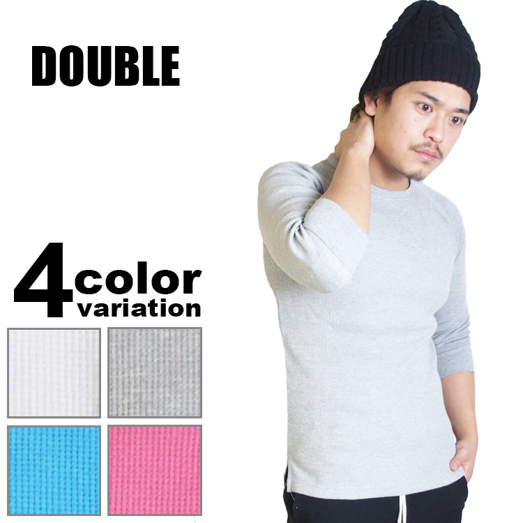 DOUBLE (double) 7-sleeve thermal t-shirt (6 colors)