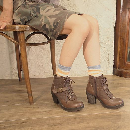 ★ promise arrival report view at special price! With Boa short-length lace-up boots thick bottom heel back zip YOSUKE U.S.A Yosuke shoe store ladies boots