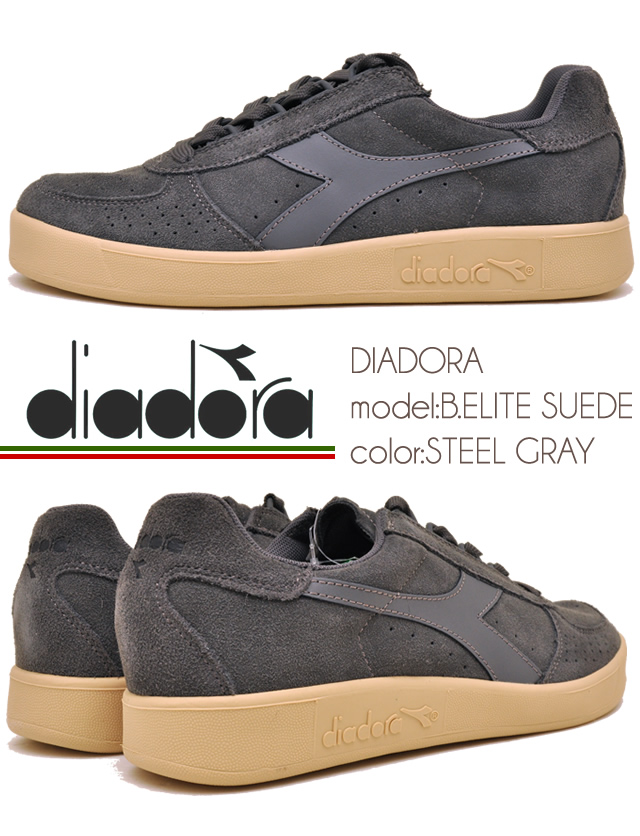 ba63a83f23 A men's sneakers DIADORA Deer gong B.ELITE SUEDE STEEL GRAY steel  gray-colored turn: 75070 ※(reservation) and a certain thing are sent out  within ...