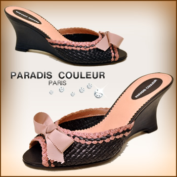 Soft Ribbon adult feminine knit embedded mesh ウエッジソールミュール PARADIS COULEUR パラディク rules ladies mule sandal leather