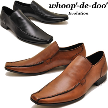 whoop '-de-doo' hoopdidu leather sworrtu moccasin shoes slip-on dress shoes squat casual shoes Black Brown * click here for product return exchange free products!
