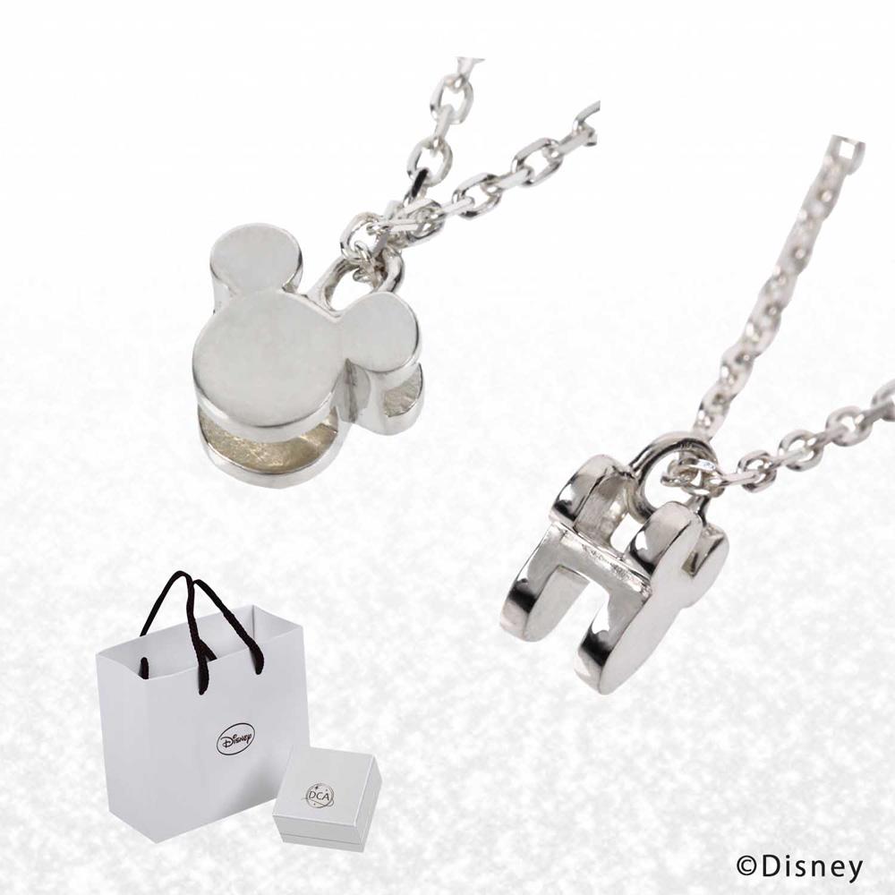 ディズニー ネックレス ミッキー イニシャル ネックレス 2面 3D キューブネックレス Disney ミッキーマウス シルエット ペンダント アクセサリー レディース プレゼント グッズ 誕生日 記念日