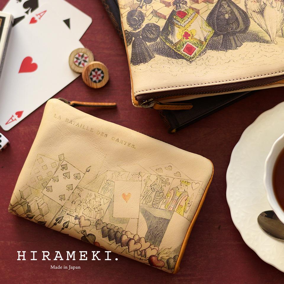 L型 L字 ファスナー折り財布/二つ折り財布◆ラウンド トランプ【送料無料】【HIRAMEKI./ヒラメキ】