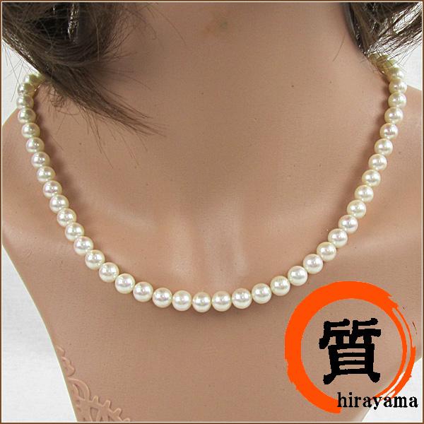 真珠ネックレス 6.5mm 43cm 29.9g パールネックレス レディ―ス ジュエリー Aランク【中古】