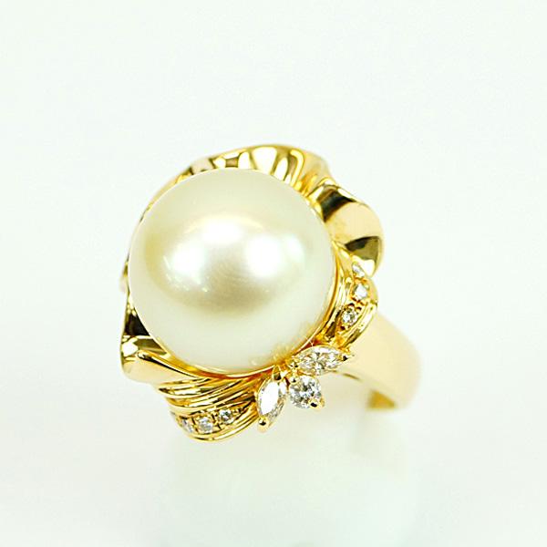 K18 イエローゴールド 南洋パール 14.4mm リング ダイヤモンド0.22ct 12号 指輪 レディ―スジュエリ― Aランク【中古】