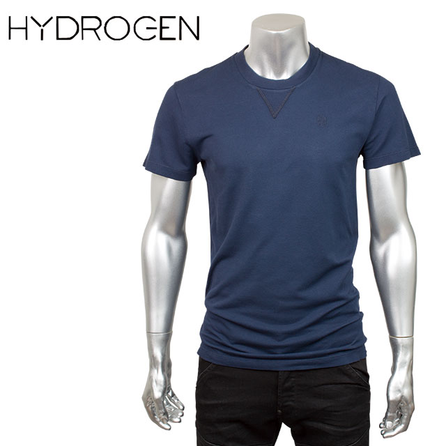 HYDROGEN ハイドロゲン メンズ ガゼットネック 半袖Tシャツ 160001 013 ブルーネイビー【セール商品のため返品交換不可】