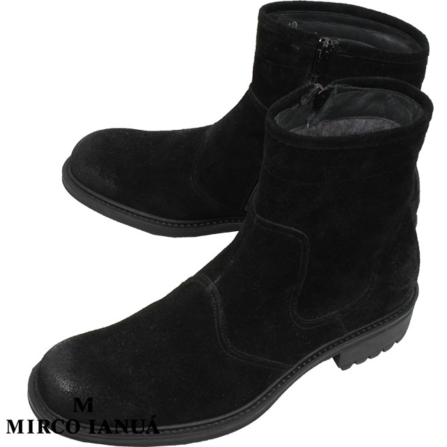 MIRCO IANUA ミルコ イナウア メンズ ムートン ブーツ CAMOSCIO カモーショ 1504 NERO ブラック【53%OFF】