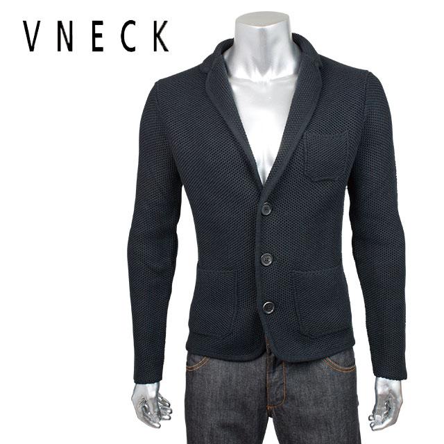VNECK ブイネック メンズ ショールカラー ニット カーディガン 4VN7126 0502 ブラック