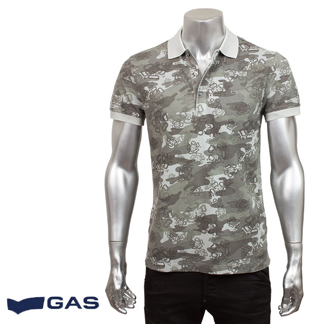 GAS ガス メンズ 半袖ポロシャツ PALPH/S FLOWER PR. 84098 1938 グレー