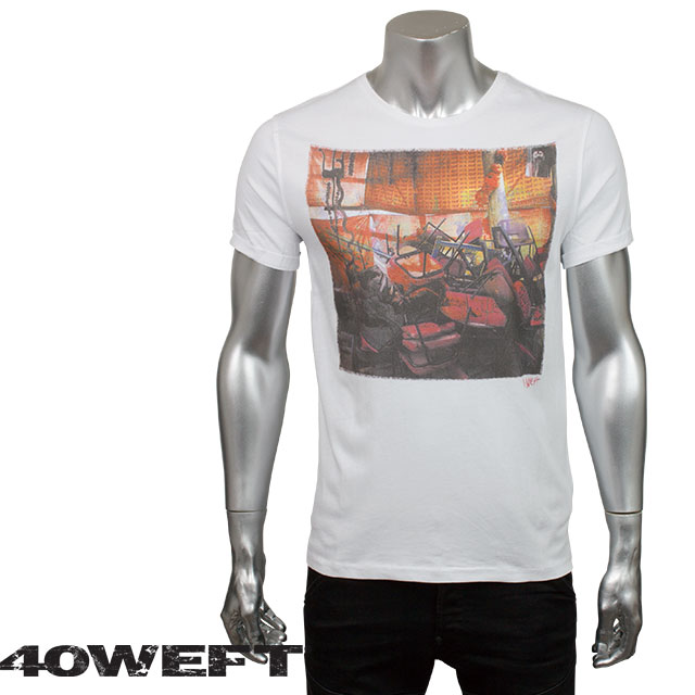 40WEFT フォーティー ウエフト メンズ 半袖クルーネックTシャツ PERRYS 6778 2064 14409 94 ホワイト