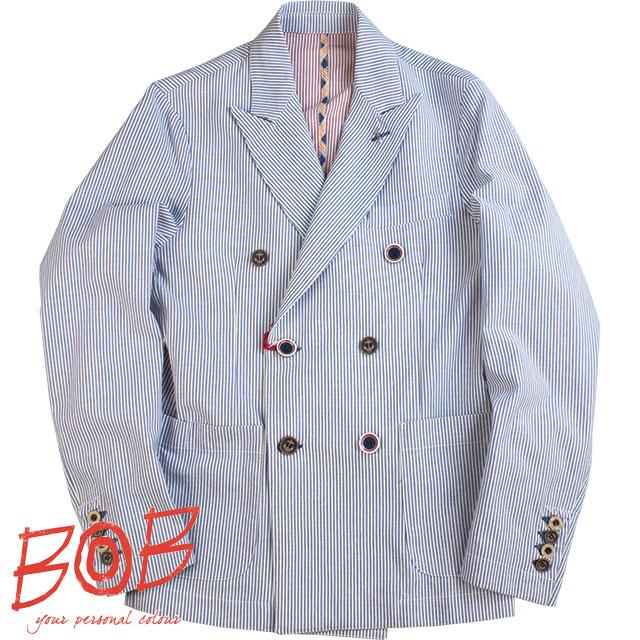 BOB ボブ メンズ ダブルジャケット 206 11718 75 ホワイト×ネイビーボーダー