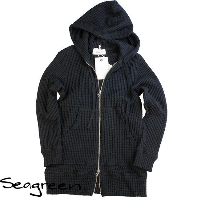 Seagreen シーグリーン メンズ オニワッフルジップロング丈パーカー MSG19A8076 BLACK ブラック