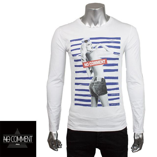 NO COMMENT PARIS ノーコメントパリ メンズ 長袖Tシャツ LTM LTN65 WHITE ホワイト