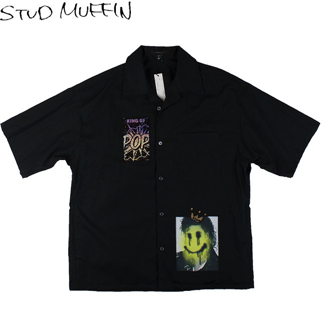 STUD MUFFIN スタッド マフィン メンズ 半袖シャツ 014 01120 BLACK ブラック