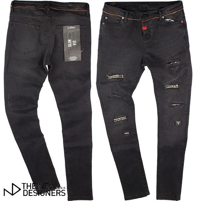 THE NEW DESIGNERS ニューデザイナーズ メンズ パンツ 8005-810-APENT BLACK ブラック