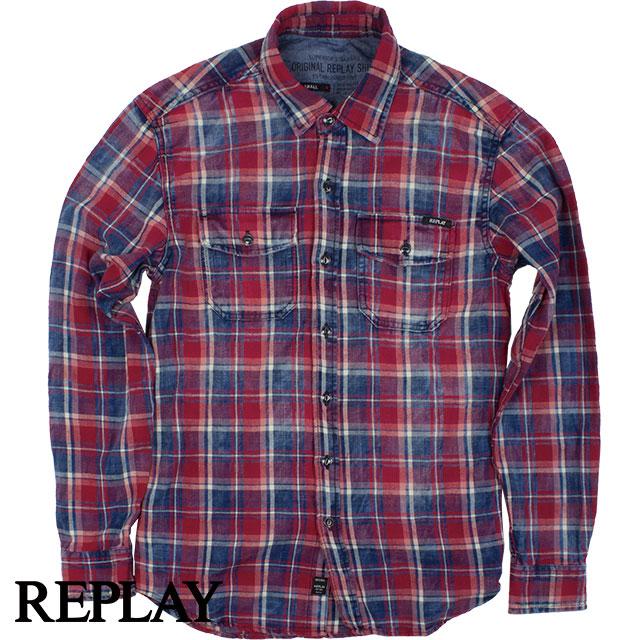REPLAY リプレイ メンズ チェック長袖シャツ M4987 000 52024 ブルー×レッド