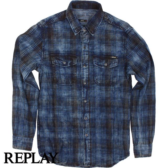 REPLAY リプレイ メンズ チェック長袖シャツ M4987 000 52032 ネイビー×ブルー