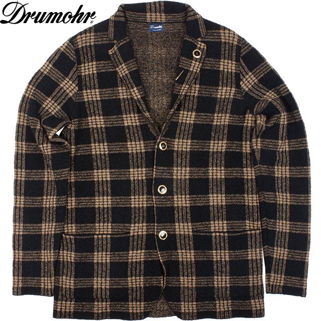 Drumohr ドルモア メンズ チェック ニット ジャケット D1B470 004 ブラック×オウドイロ【セール商品のため返品交換不可】
