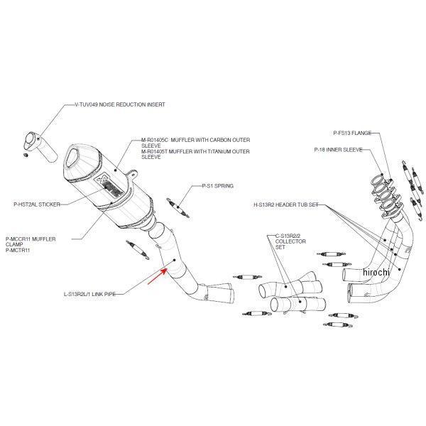 R2L/1 アクラポビッチ AKRAPOVIC リンクパイプ レーシングライン 08年以降 ハヤブサ GSX1300R ステンレス L-S13 HD店