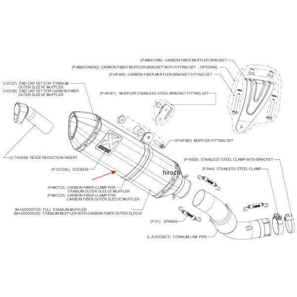 0505C/2 アクラポビッチ AKRAPOVIC リペアサイレンサー Z-TYPE E1仕様 09年-11年 アプリリア RSV4、TUONO V4 カーボン M-HZ0 HD店
