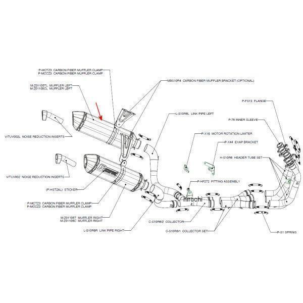 アクラポビッチ AKRAPOVIC リペアサイレンサー Z-TYPE 左側 07年-08年 GSX-R1000 チタン 52/300/70X50 M-Z01105TL HD店