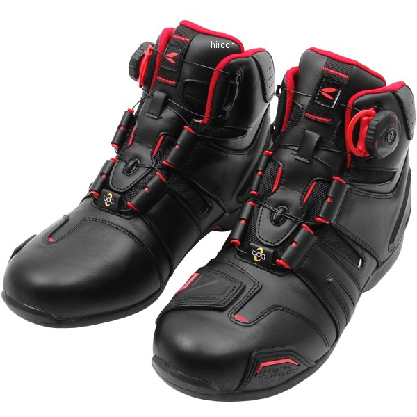 RSタイチ ライディングシューズ ドライマスター ボア RSS006 黒/赤 24.5cmサイズ RSS0069915245 HD店