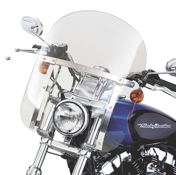 【USA在庫あり】 ハーレー純正 クイックリリース・コンパクト・ウインドシールド 88年以降 XL FXD ライトスモーク/ポリッシュ・ブレース 58602-04 HD店