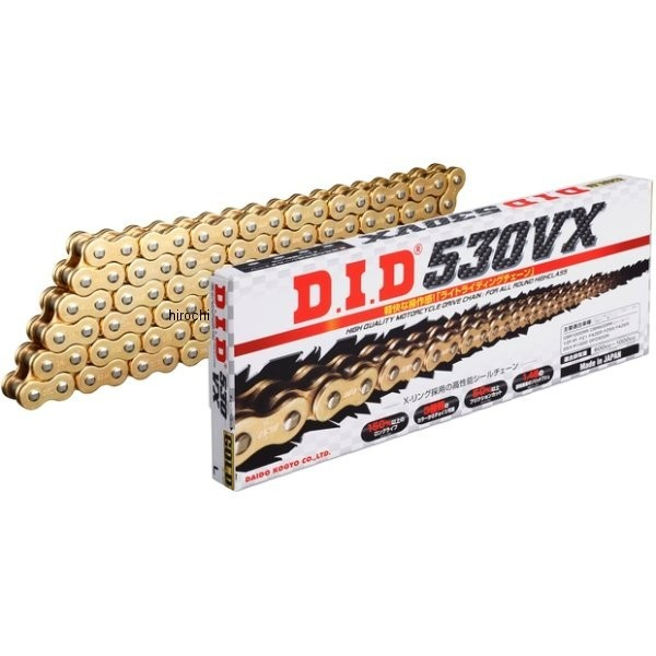 4525516376150 DID 大同工業 チェーン 530VX シリーズ ゴールド (100L) クリップ DID 530VX-100L FJ(クリップ) GOLD HD店