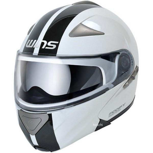 【メーカー在庫あり】 ウインズ WINS システムヘルメット MODIFY GT STRIPE 白/黒 Lサイズ(58-59cm) 4560385761379 HD店