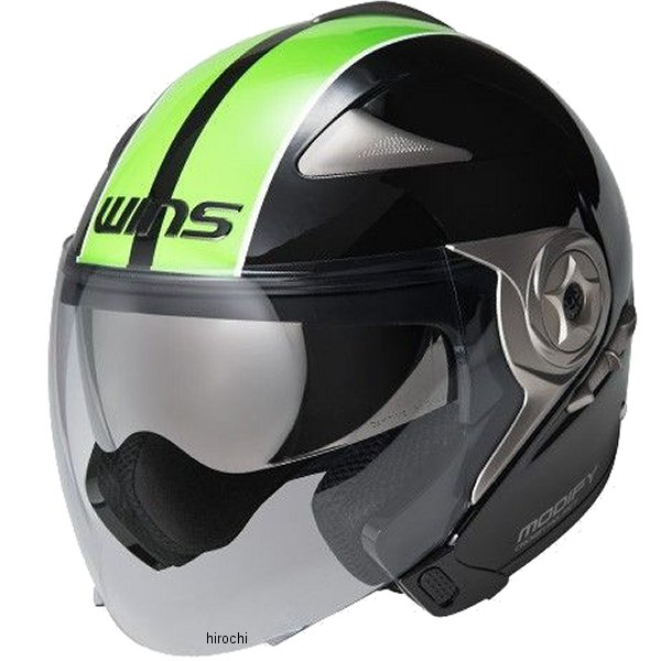 【メーカー在庫あり】 ウインズ WINS ジェットヘルメット MODIFY JET GTストライプ 黒/緑 Lサイズ(58-59cm) 4560385766374 HD店
