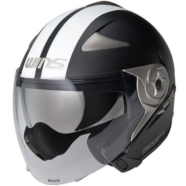 【メーカー在庫あり】 ウインズ WINS ジェットヘルメット MODIFY JET GTストライプ マットブラック/白 Lサイズ(58-59cm) 4560385766404 HD店