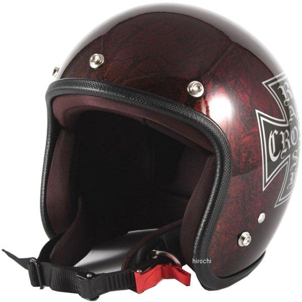 ナナニージャム 72JAM ジェットヘルメット カスタムペイントJAM RASH CROSS 赤/ブラウン フリーサイズ(57-60cm未満) JCP-15 HD店