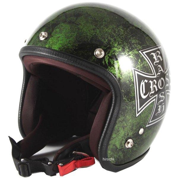 ナナニージャム 72JAM ジェットヘルメット カスタムペイントJAM RASH CROSS 緑 フリーサイズ(57-60cm未満) JCP-16 HD店