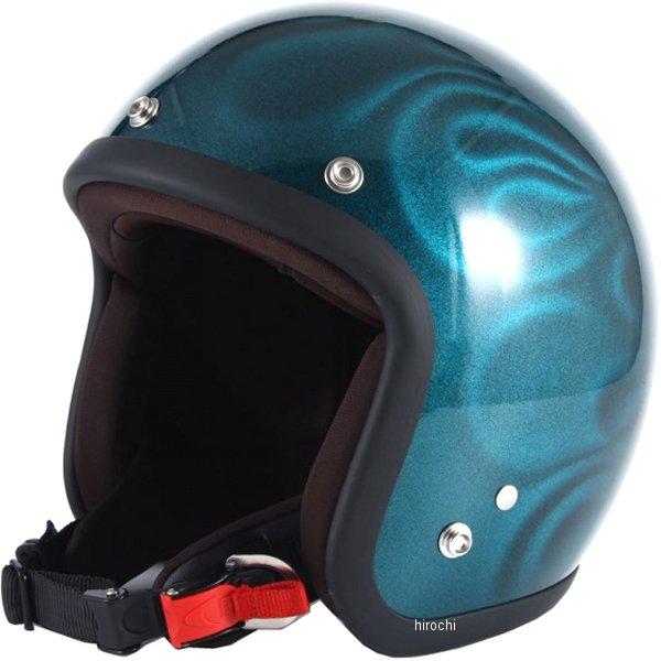 ナナニージャム 72JAM ジェットヘルメット 3D GHOST FLAME 青 フリーサイズ(57-60cm未満) JG-16 HD店