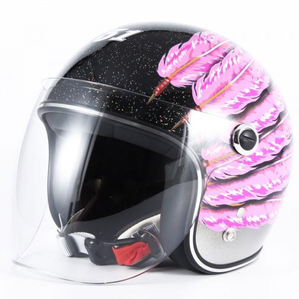 ナナニージャム 72JAM ジェットヘルメット IWAKI Fifty one Feather Design ピンク 子供用サイズ(52-55cm未満) IWK-06 HD店