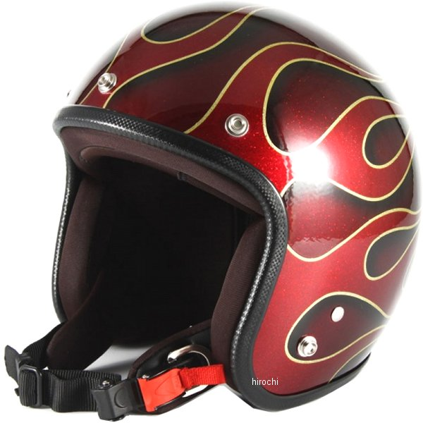 ナナニージャム 72JAM ジェットヘルメット FLAMES 赤 フリーサイズ(57-60cm未満) JCP-41 HD店