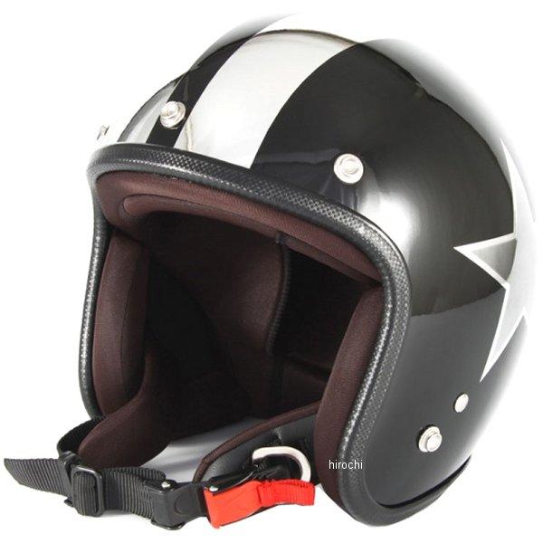 ナナニージャム 72JAM ジェットヘルメット BLACK STAR 黒 フリーサイズ(57-60cm未満) JCP-50 HD店