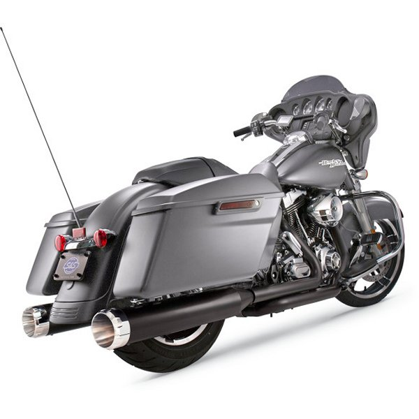 【メーカー在庫あり】 S&Sサイクル S&S Cycle 4.5インチ スリップオンマフラー 17年以降 黒/クローム Thruster 550-0667 HD店