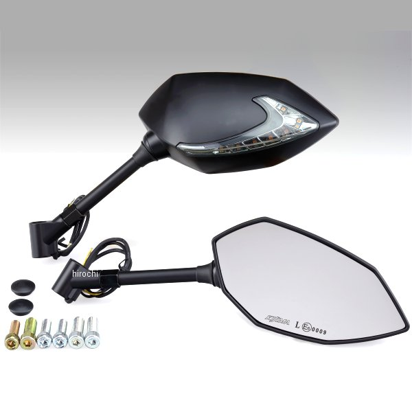 【メーカー在庫あり】 キジマ TECH07 ミラー LEDウインカー付 シャフトタイプ 黒 左右セット 203-8075 HD店