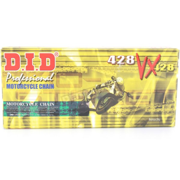 【USA在庫あり】 DID 大同工業 チェーン 428VX ナチュラル 134L 軽圧入クリップ 122715 HD店