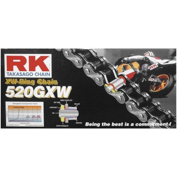 【USA在庫あり】 アールケー RK チェーン 520GXW XW-リング ナチュラル 130L 180662 HD店