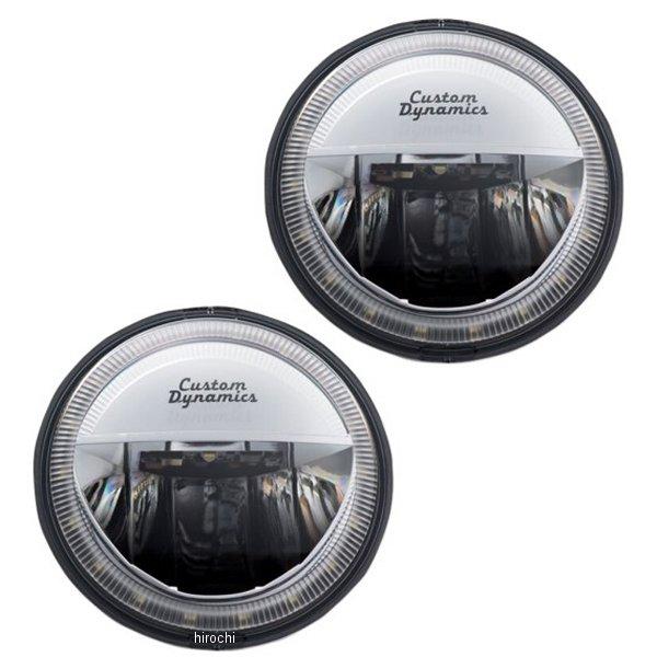 【USA在庫あり】 カスタムダイナミクス LED パッシングランプ 4.5インチ/LED Halo付き クローム (左右ペア) 2001-1484 HD店