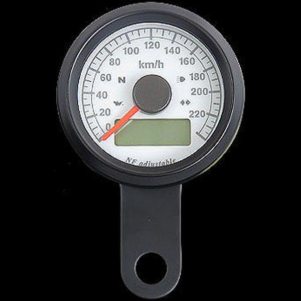 【メーカー在庫あり】 ネオファクトリー 48mm インジケーター付き スピードメーター 黒 白盤 橙光 016002 HD店