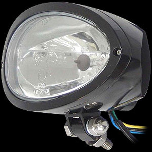 【メーカー在庫あり】 ネオファクトリー ビレット オーバル ヘッドライト 黒 クリアーレンズ 016563 HD店