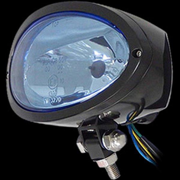 【メーカー在庫あり】 ネオファクトリー ビレット オーバル ヘッドライト 黒 ブルーレンズ 016565 HD店