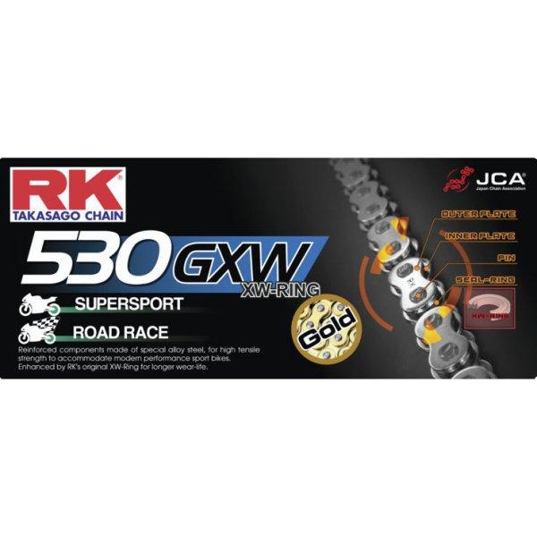 【USA在庫あり】 アールケー RK Racing チェーン XW-リング カシメタイプ GB530GXW 120リンク ゴールド 180650 HD店